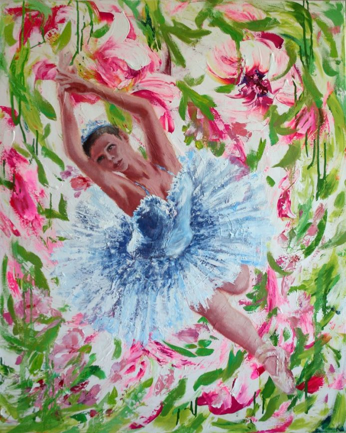 BALL OF SPRING... / BALLERINA. PINK FLOWERS. VIBRATION GENTLE COLORS