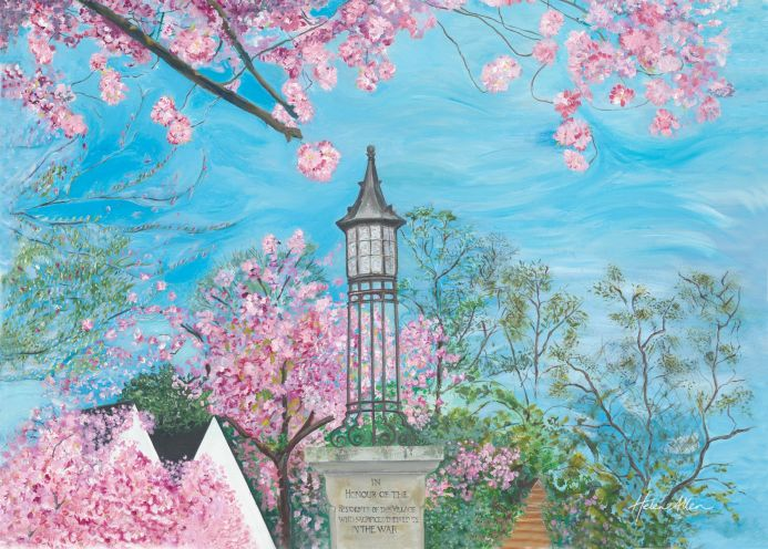 Monument and Cherry Blossoms