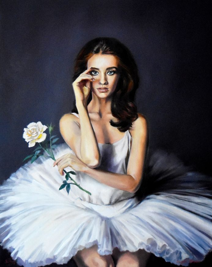 Ballerina portrait with a white rose