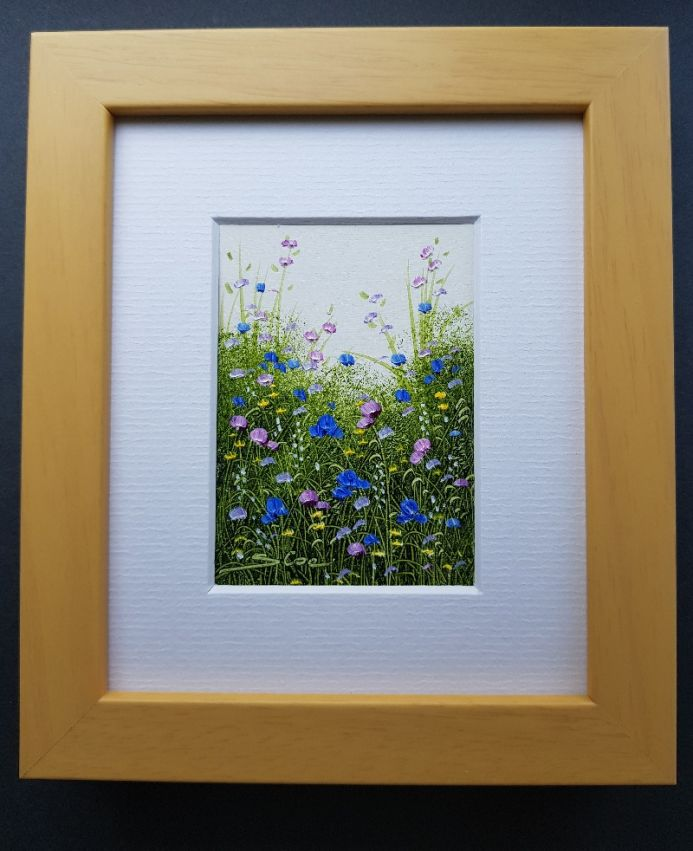 Wildflowers . Original Oil . Beech Wood Frame . Miniature . Sandie Coe