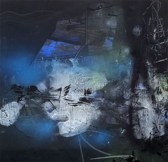 Unique abstract fascinating darkscape by master painter O KLOSKA