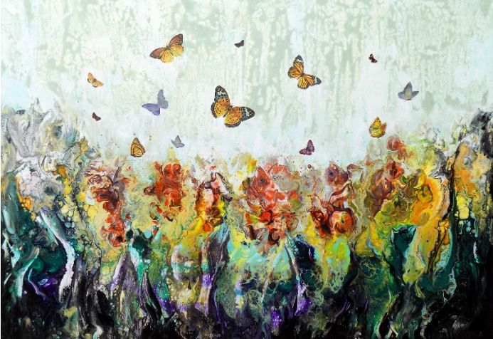 Garden large modern landscape painting art with flowers and butterflies
