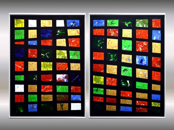 Kontraste - Acrylic paintings on canvas, abstract artwork in frame, original