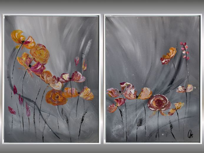 Tender Love - Abstract Painting on Canvas - Framed Flower Paintings