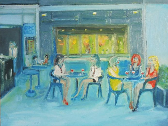CAFE TREAT RED WINE. Original Oil Figurative Painting. Varnished. Impressionistic.