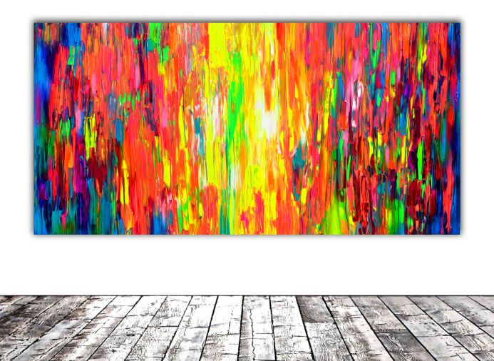 63x31.5'' Large Ready to Hang Abstract Painting - XXXL Huge Colourful Modern Abstract Big Painting, Large Colorful Painting - Ready to Hang, Hotel and Restaurant Wall Decoration, Happy Gypsy Dance
