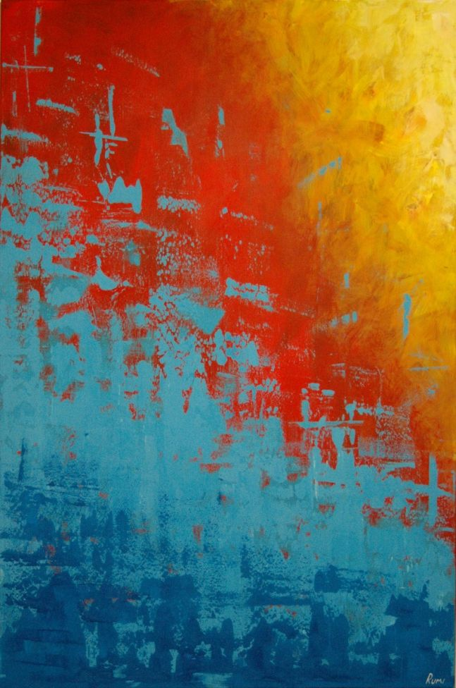 "Original abstract painting. ""Color Invasion"". Large. 120 x 80 cm."