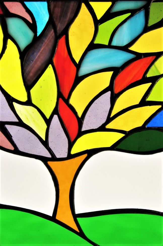 Tree Of Life Stained Glass Art Contemporary Handmade Window Hanging Panel #1