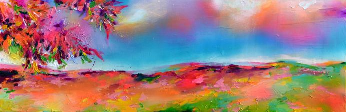 New Horizon 129 - 120x40 cm, Colourful Painting, Colourful Sunset Painting, Impressionistic Colorful Painting, Large Modern Ready to Hang Abstract Landscape Painting