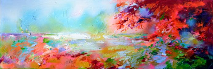 New Horizon 124 - 120x40 cm, Colourful Painting, Colourful Sunset Painting, Impressionistic Colorful Painting, Large Modern Ready to Hang Abstract Landscape Painting