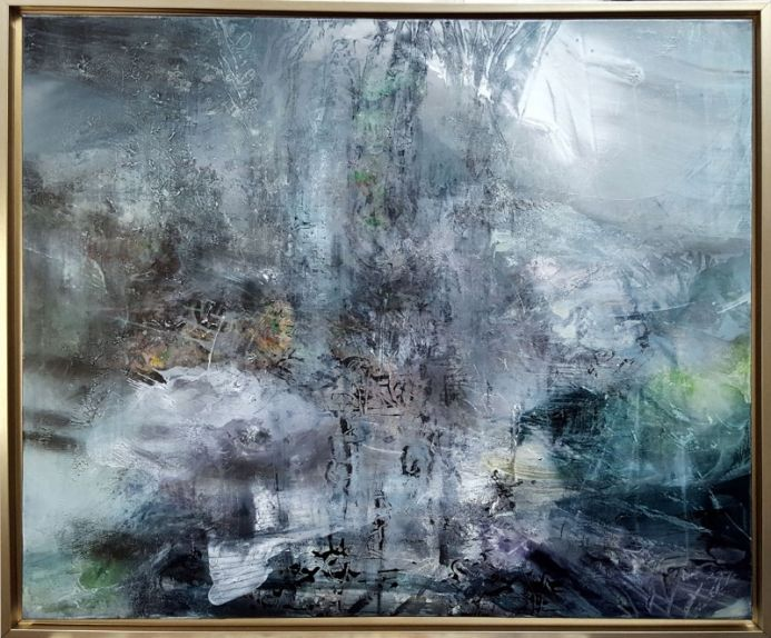 HUGE FRAMED DIAPHANE MINDSCAPE ABSTRACT UNIQUE STYLE 126 X 106 CM BY O KLOSKA