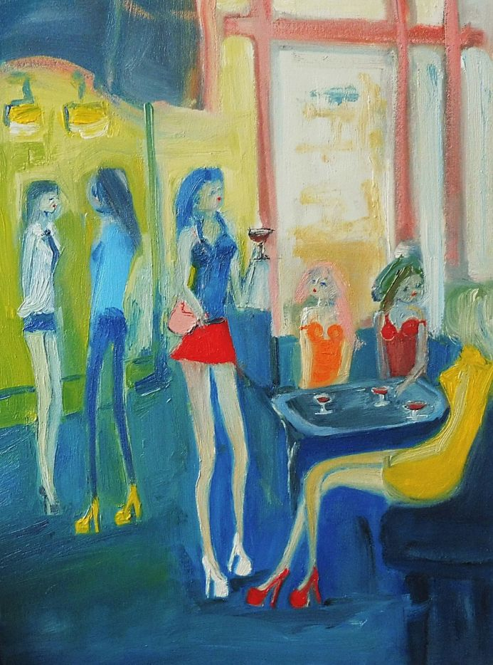 RED MINI SKIRT, WINE with GIRLFRIENDS. Original Oil Figurative Painting. Varnished.