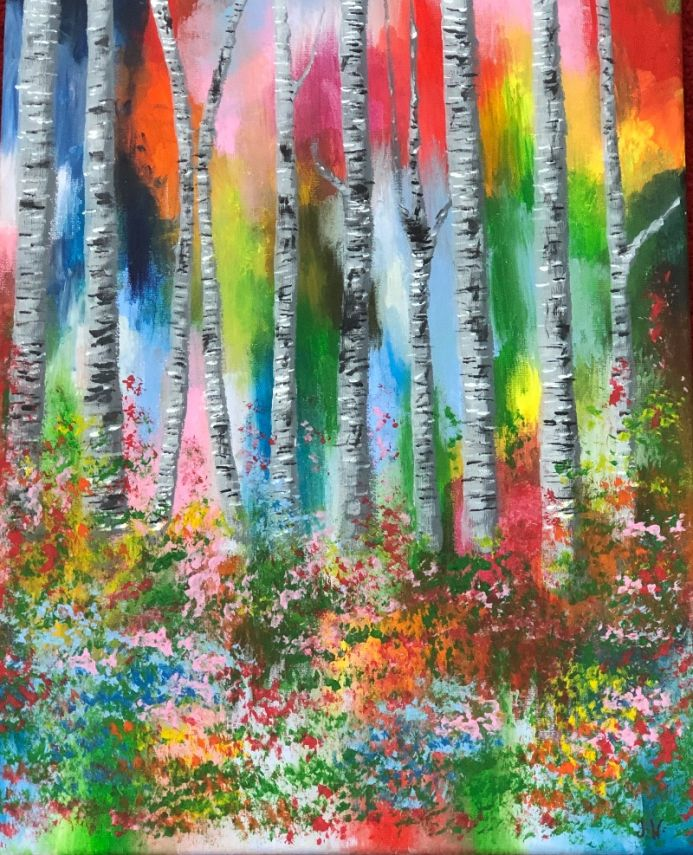 Colourful woodland scene with silver birches