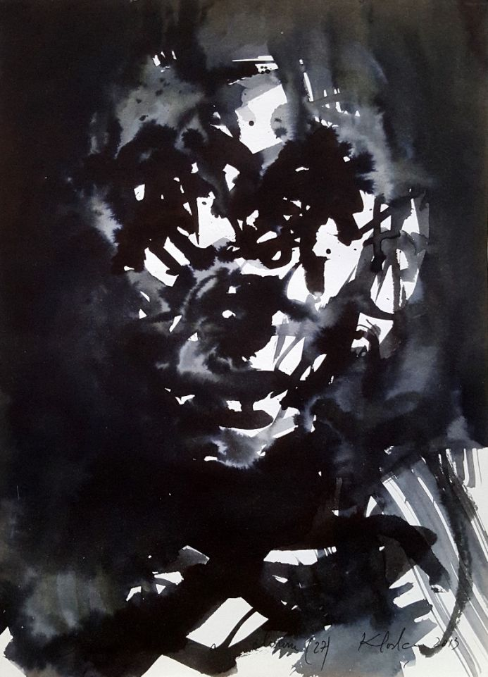 I am just a clown 27 human condition drama spontaneous ink oainting on paper KLOSKA