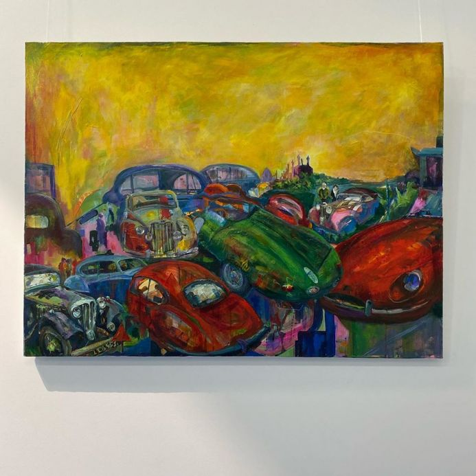 Abstract Acrylic painting of vintage car rally at Littlecote Hall.