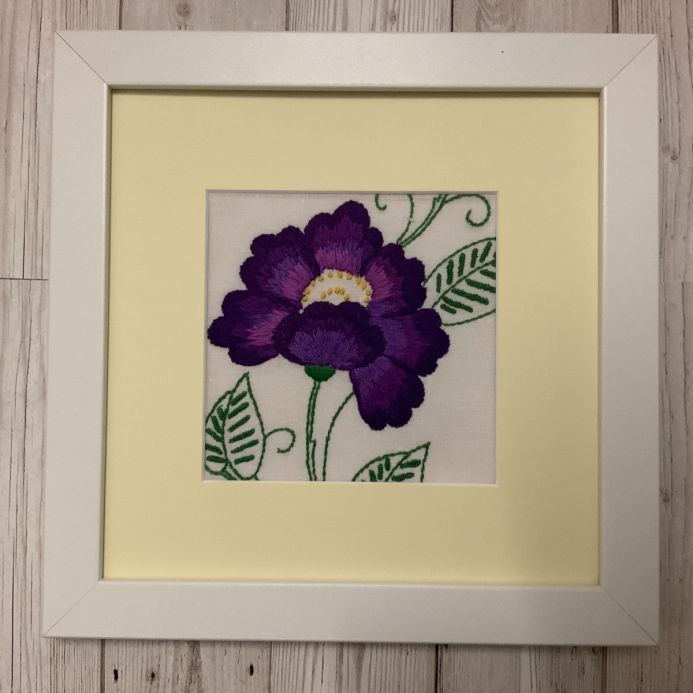 Anemone - Vintage 1930's hand embroidered floral art work - framed