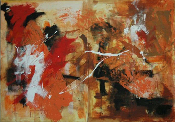 """""""Alive Again"""". Diptych. Expressive abstract."""