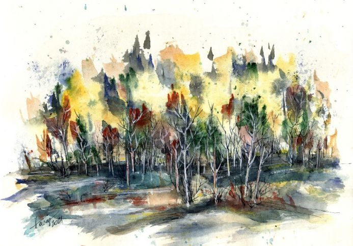 The Dense Forest watercolor and ink on paper