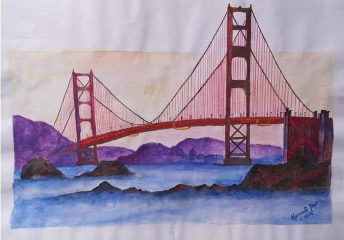 The 3D Bridge Watercolour Painting on Paper 42cmx29.5cm approx| Beautiful Water Reflection Scenery Painting