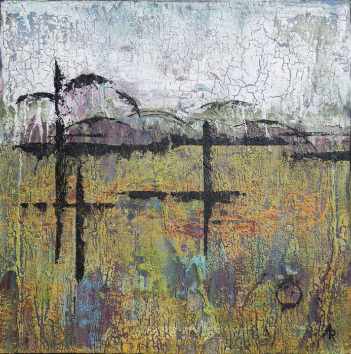 Shifting Landscape 3 - small painting on wood