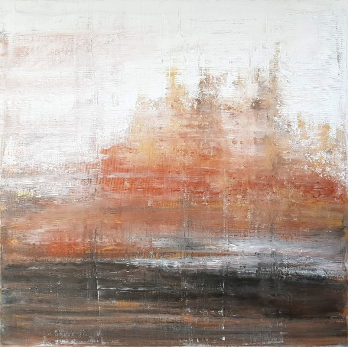 Golden winter - large abstract landscape