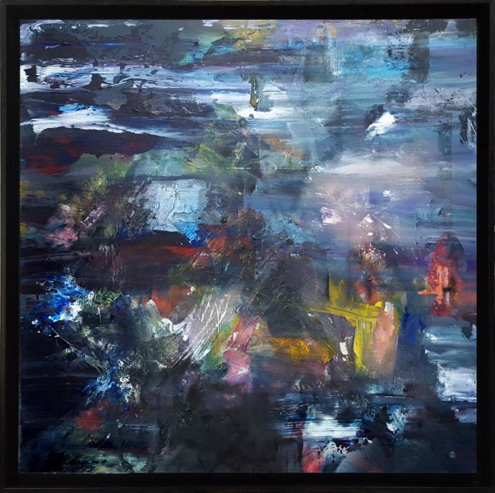 LARGE LIGHTSCAPE ONEIRIC DELIRIOUS ART BY ROMANIAN PAINTER O KLOSKA ABOUT PERENITY TIME MEMORY