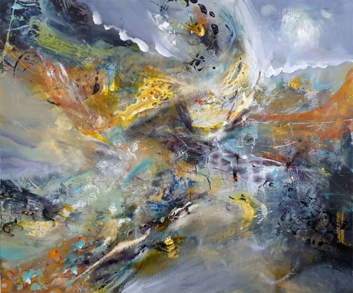 LARGE XXL PAINTING FANTASTIC COLORS COMPOSITION ABOUT CHILDHOOD DREAMS ONEIRIC ART CHILDISH HARMONY FLY BIRDS BY O KLOSKA