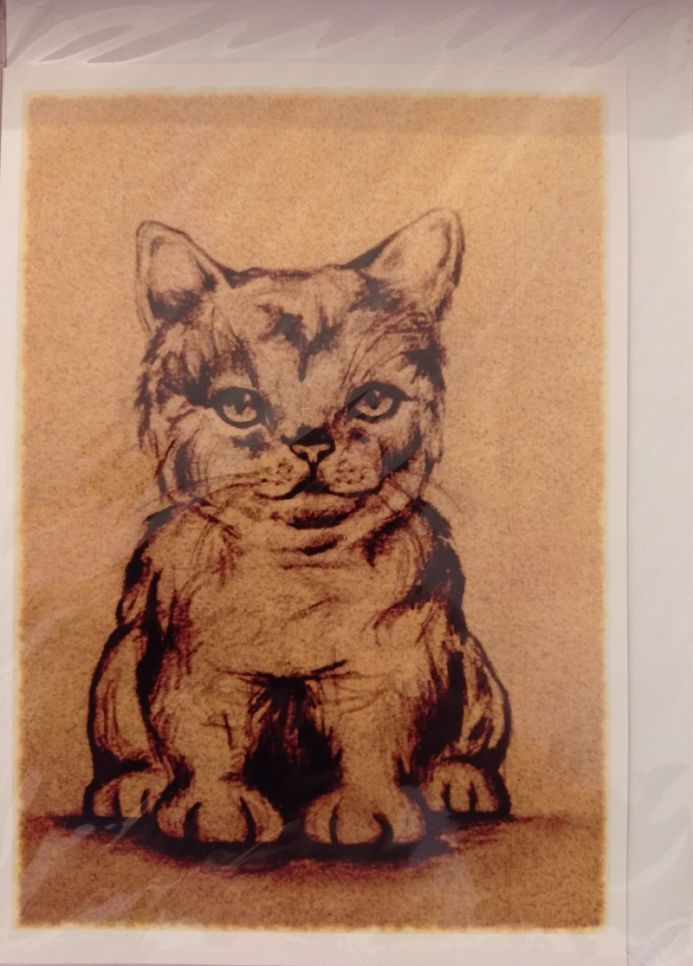 Ochre Cat Greetings Card