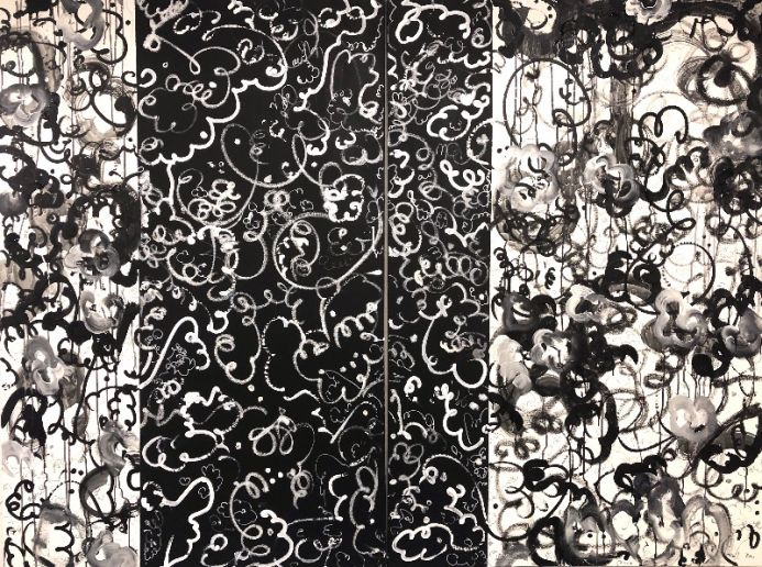 In between worlds - Extra large black and white abstract art