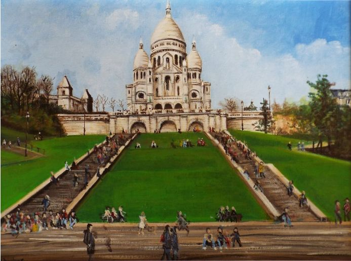 Basilica of Sacre-Coeur on Montmartre hill.