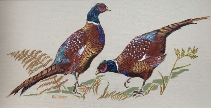 Pheasants sizing each other up