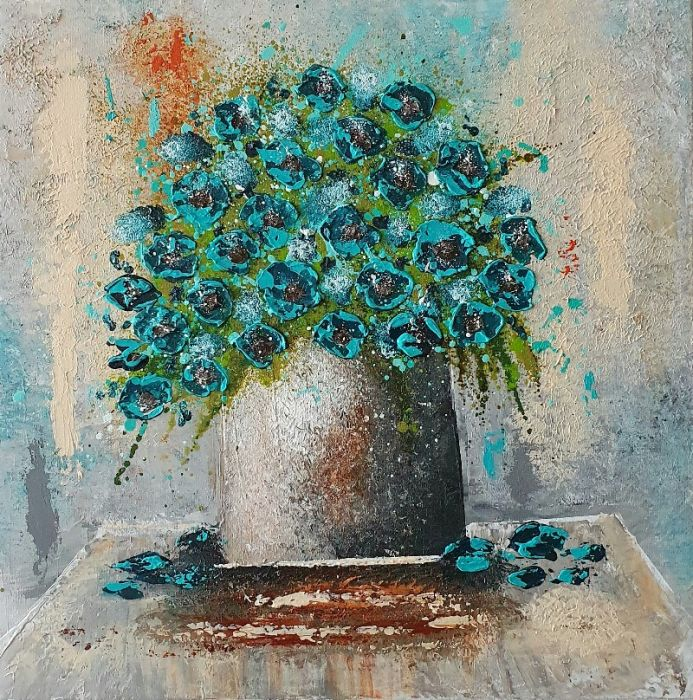 Vase with Turquoise Flowers