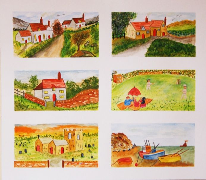 Country scene x 6