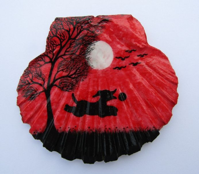 Dog Painting on Scallop Shell
