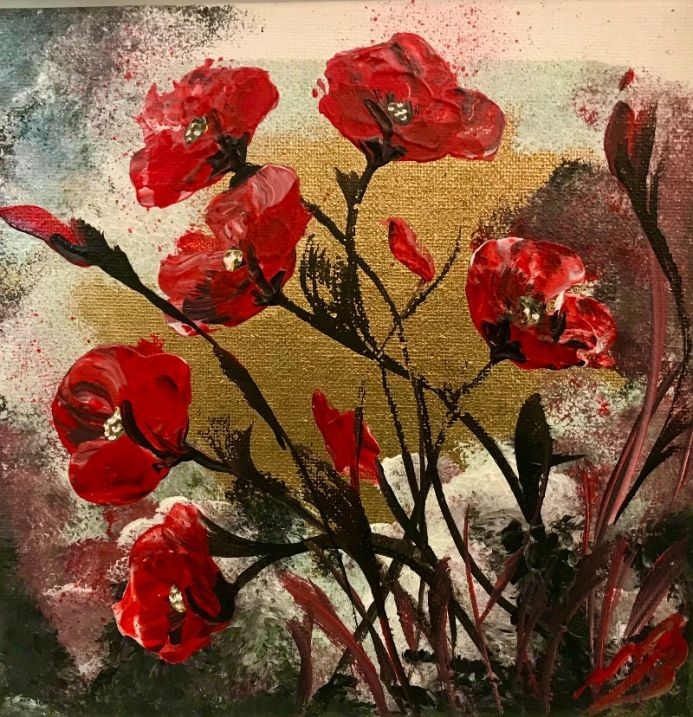 Abstract Poppies on Gold Leaf
