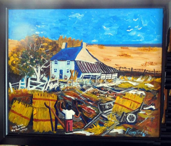 An Old Manx Farm( In a Black Wooden Frame)