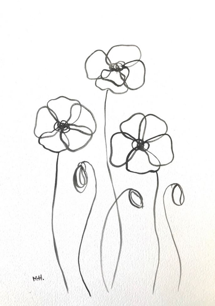 Flowers nr 2 line drawing