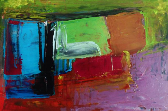 PURPLE HAZE TRIPPING OVER MULTI COLOURED ROAD. Original Abstract Acrylic Painting. Varnished.
