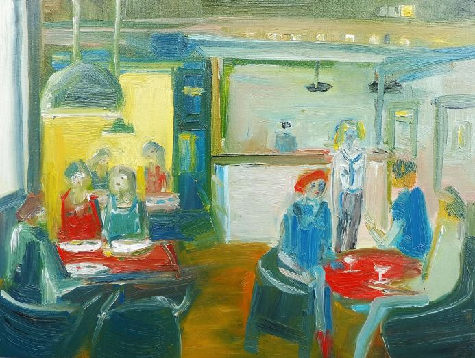 GIRLS CAFE SCENE LATE BREAKFAST ORDER & WINE. Original Oil Figurative Painting. Varnished.
