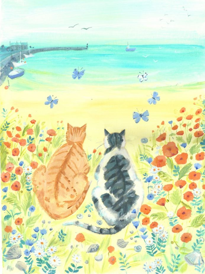 Summertime Cats. cat Painting