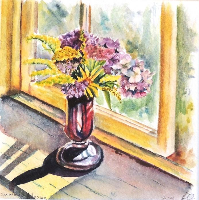 Summer Flowers in Red Glass