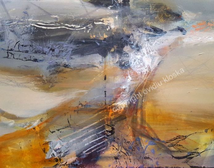 LARGE PAINTING A WARM AND VOLATILE DESIRE UNIQUE STYLE MINDSCAPE LIGHTSCAPE BY O KLOSKA