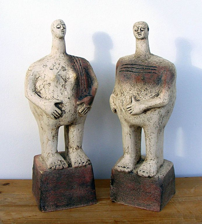 Pair of Ceramic Sculptures - Empathy & Liberty