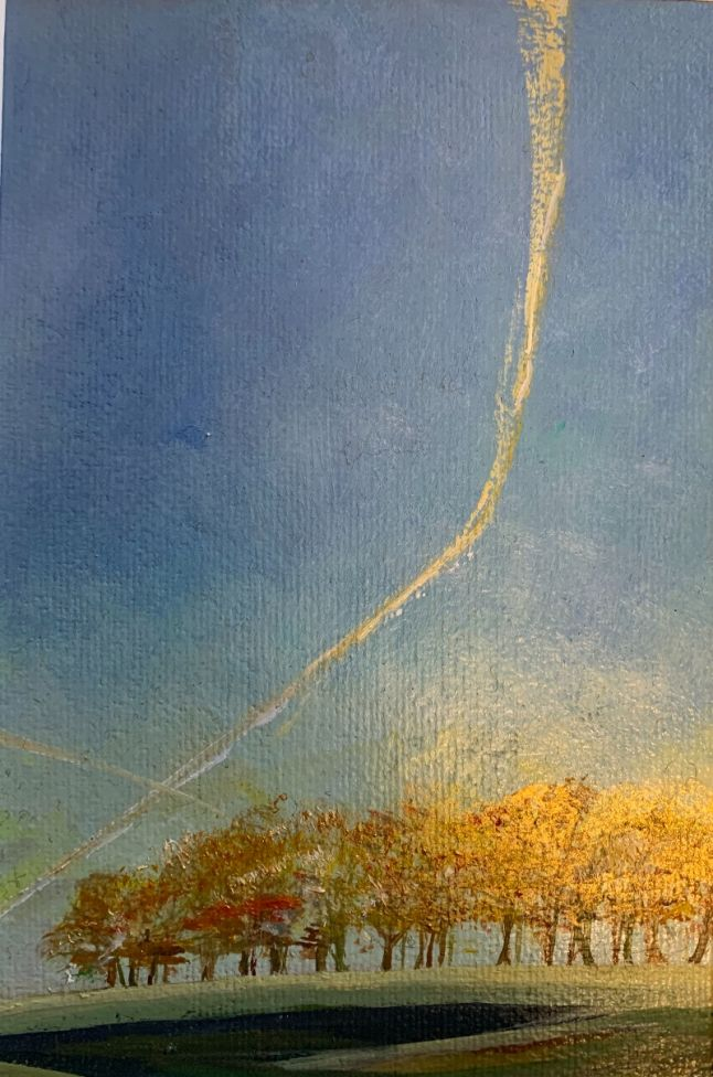 AN AMERICAN BOUND JET ON ITS CHALKY THREAD ( original oil painting in a mount )