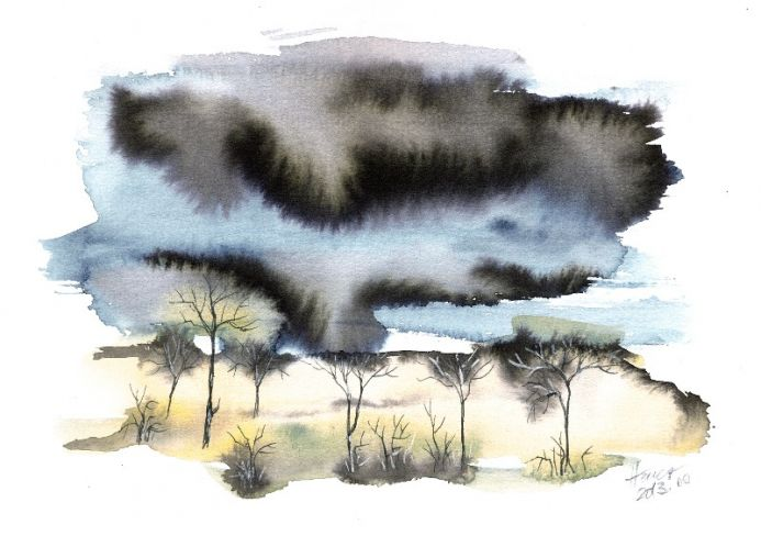 Trees in heavy storm watercolor painting on paper