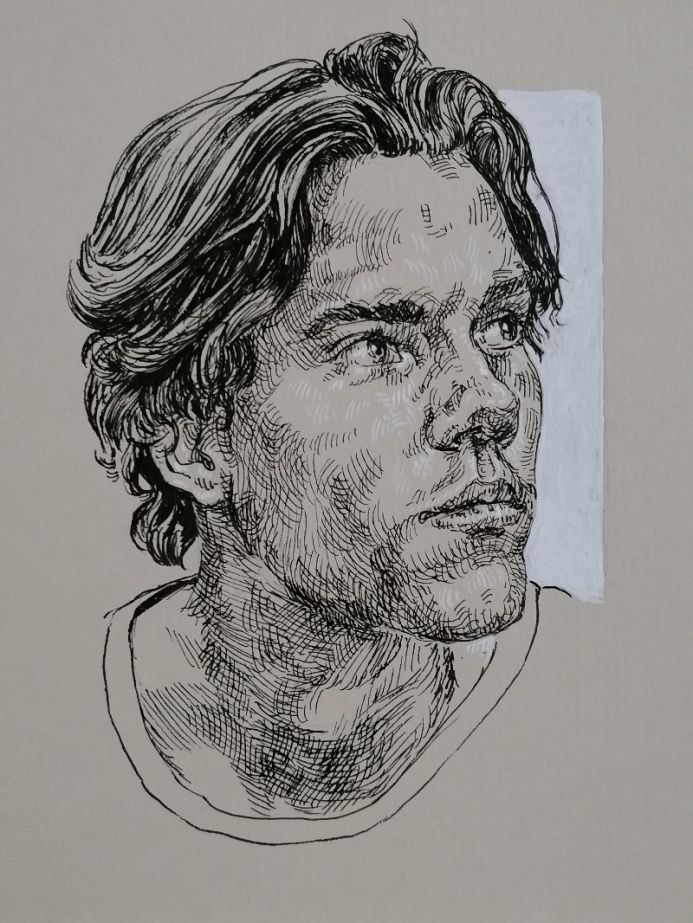 Handsome man portrait - ORIGINAL INK ART