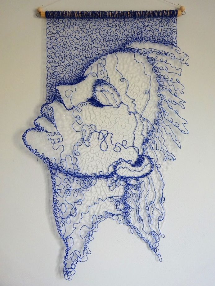 Blue Lace Face Wall Hanging 3