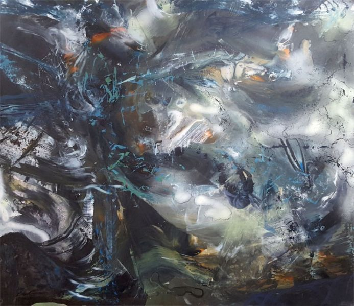 LARGE XXL PAINTING CHILDHOOD DREAM COLORFUL ABSTRACT FASCINATING PAINTING BY O KLOSKA