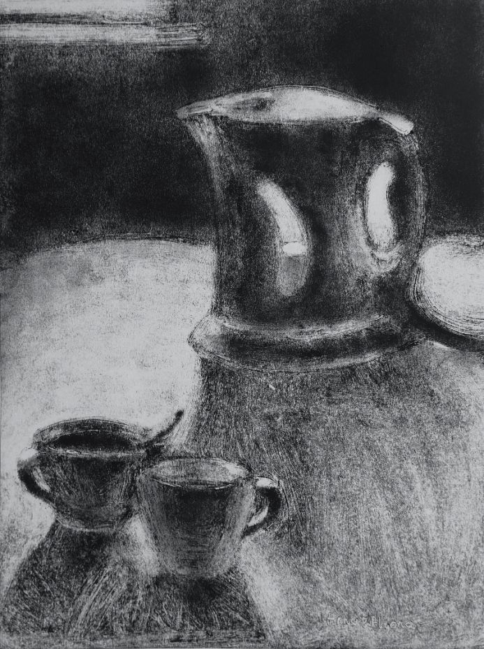 A Kettle and Teacups 9x12 inches