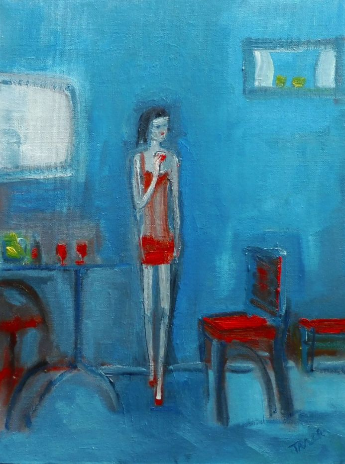RED DRESS, RED WINE. Original Impressionistic Figurative Oil Painting. Varnished.